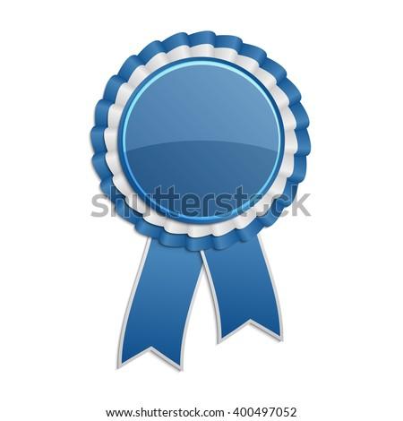 Blue award rosette with ribbon - stock vector