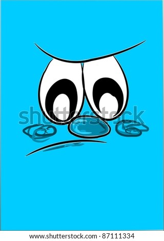Blue background and unhappy face - simple vector - stock vector