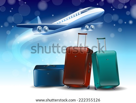 blue background around the planes fly tourism travel - stock vector
