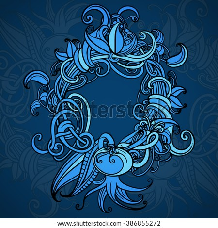Blue background. Cover. Card. A wreath of flowers. Vegetation element. Circuit. Vector graphics. Central composition. Decorative frame. - stock vector