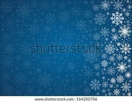 Blue background from frosty snowflakes with copy space, vector pattern - stock vector