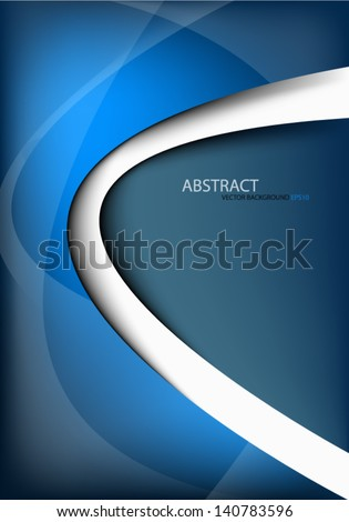 blue background vector illustration paper overlap dimension on white line for text and message design - stock vector