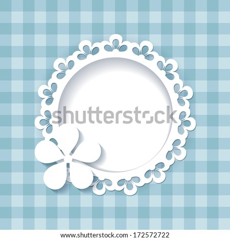 blue background with a frame (a seamless pattern and a seamless lace are included in the palettes)  - stock vector