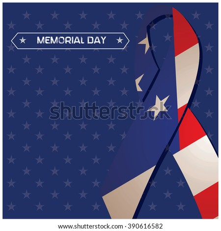 Blue background with a peace symbol with the american flag and text for memorial day - stock vector