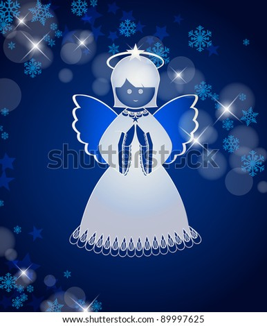 Blue background with an angel - stock vector