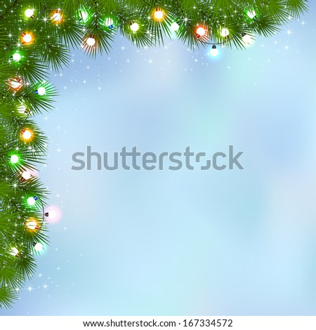 Blue background with branches of Christmas tree and multicolored light bulbs, illustration. - stock vector