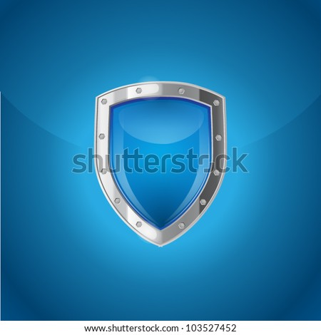 Blue background with bright silver steel shield - stock vector