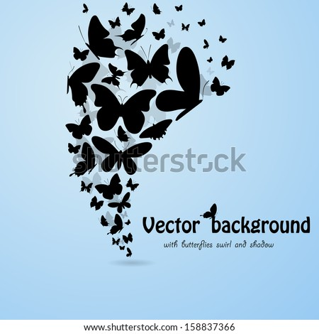 Blue background with butterflies silhouettes. eps10 - stock vector