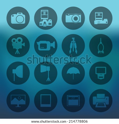 Blue background with circle Camera and accessory icons set - stock vector