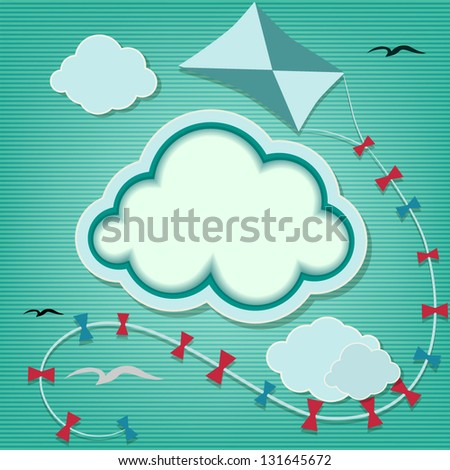 Blue background with clouds and kite - stock vector