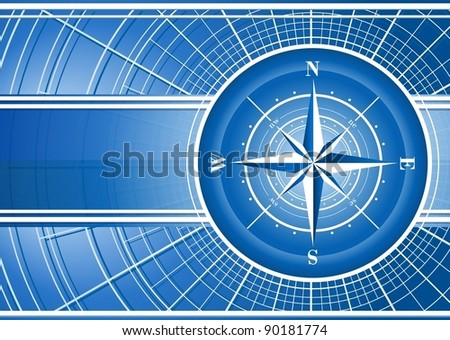 Blue background with compass rose. Vector EPS 10. - stock vector