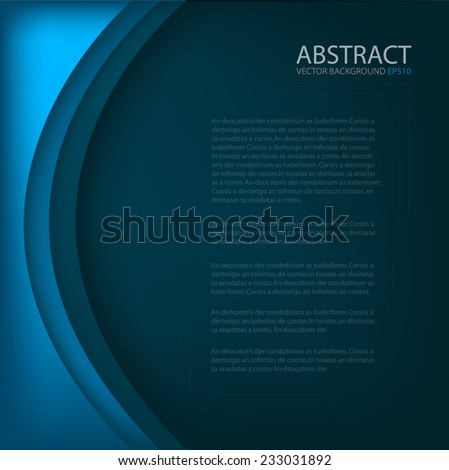 Blue background with curve line overlap paper layer and line for text and message modern artwork design - stock vector
