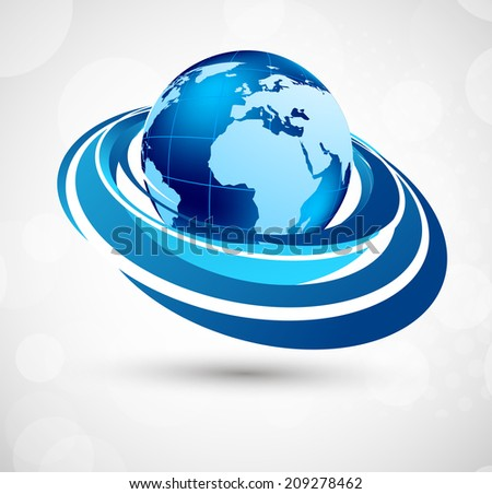 Blue background with earth and circles - stock vector