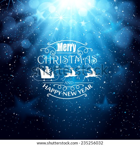 Blue background with falling snowflakes and greeting text - stock vector