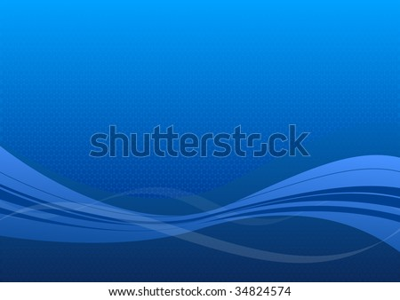 Blue background with light waves. - stock vector