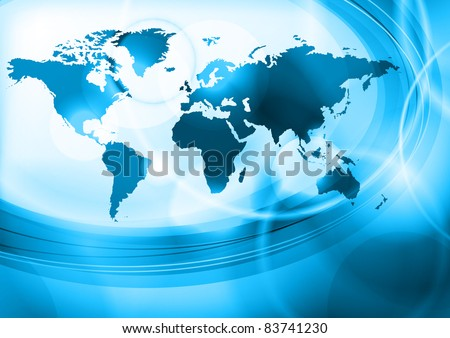 blue background with map of the world - stock vector