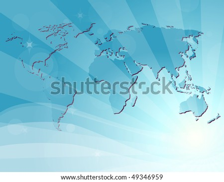 Blue background with map of the world. Raster version available - stock vector