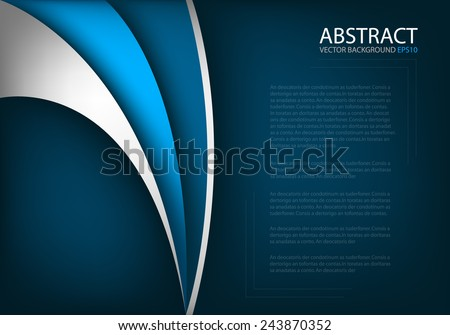 Blue background with silver and purple curve line with dark space for text and message modern background design - stock vector