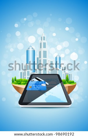 Blue Background with Sparkles City Island Credit Card and Tablet PC