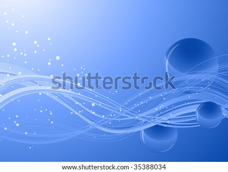 Blue background with spheres, vector illustration, EPS file included - stock vector
