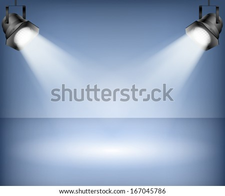 Blue background with spotlights. Studio. - stock vector