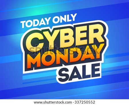 Blue background with text for cyber monday. Vector illustrations. Cyber Monday banner design - stock vector