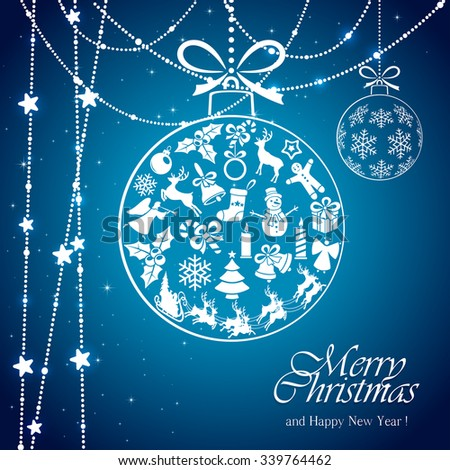 Blue background with transparent ball from Christmas elements and white stars, illustration.