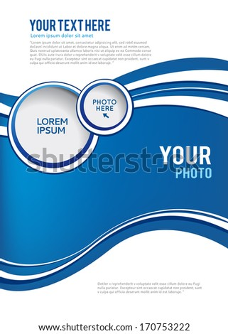 Blue background with wave - brochure design of flyer - stock vector