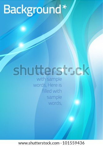 blue background with waves - stock vector