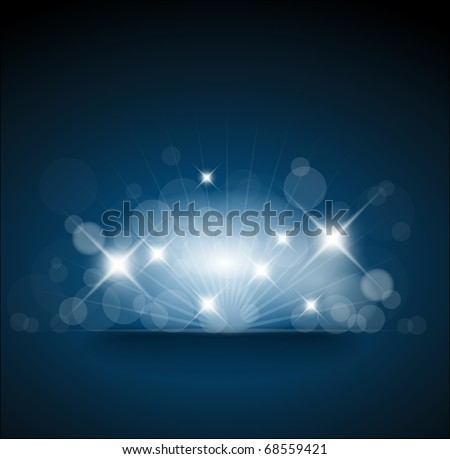 Blue background with white lights and place for your text