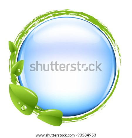 Blue Ball And Green Leafs,  Vector Illustration - stock vector