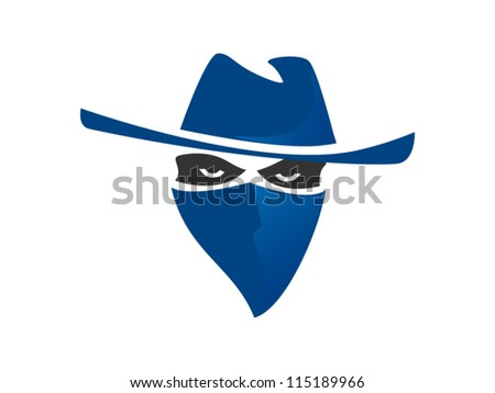 Blue Bandit With Hat And Bandanna Inspired From Western - stock vector