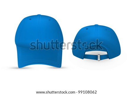 Blue baseball cap template. Front and rear views. - stock vector