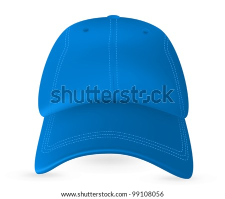 Blue baseball cap template. Mesh & gradients only. - stock vector