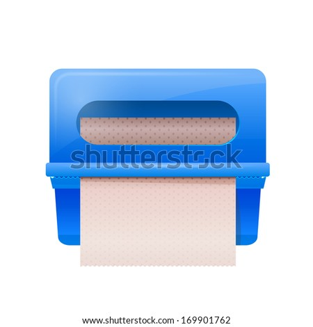 Blue bathroom wall mounted paper dispenser