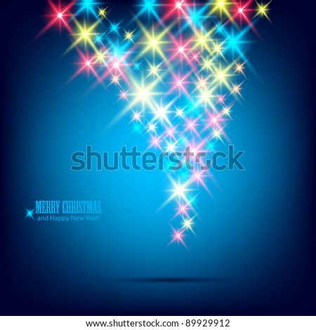 Blue beautiful Christmas background. - stock vector