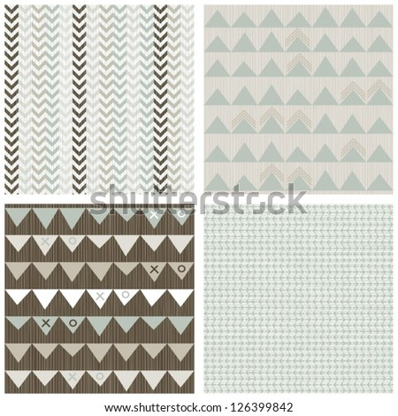 blue beige brown white arrows winter colors geometric seamless pattern set of scrapbook backgrounds - stock vector
