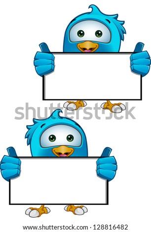 Blue Bird - Holding Blank Sign - stock vector
