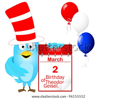 Blue Bird in a striped red-and-white hat with icon a calendar in honor of the birthday of Dr. Seuss, is celebrated on March 2. Vector illustration.