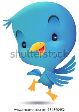 Blue Bird jumping and dancing - stock vector