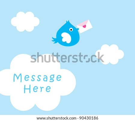 blue bird letter message - stock vector