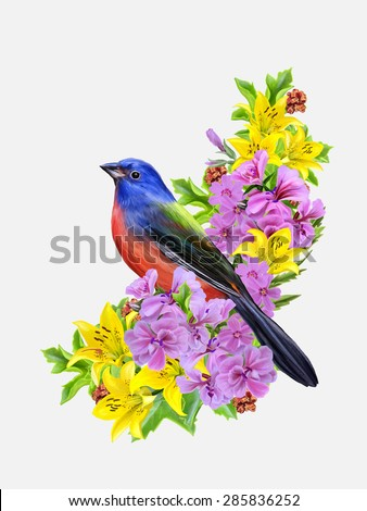 blue bird on a background of yellow roses and pink flowers - stock vector