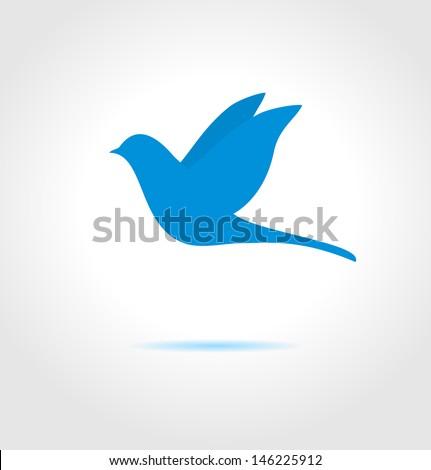 Blue bird on gray background. Abstract vector symbol.  - stock vector