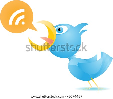 Blue Bird RSS/ Cute bluebird yelling out important message. This file is separated into layers  - speech bubble, RSS symbol, and bird. - stock vector
