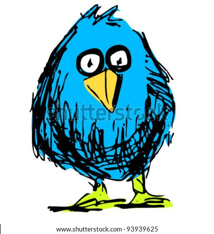 Blue bird sketch vector illustration in funny doodle style - stock vector