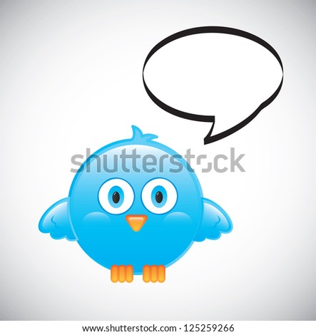 blue bird with bubble over white background vector illustration - stock vector