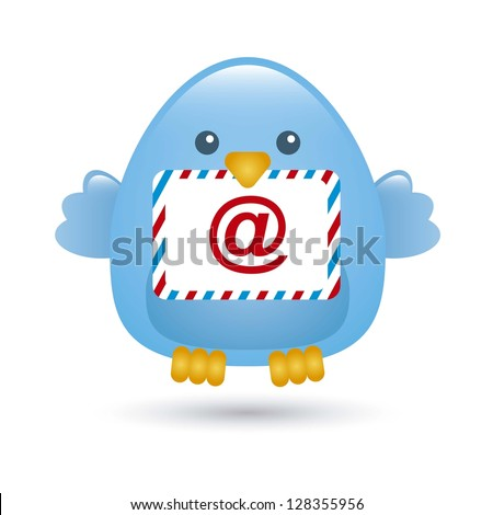blue bird with message envelope. vector illustration - stock vector