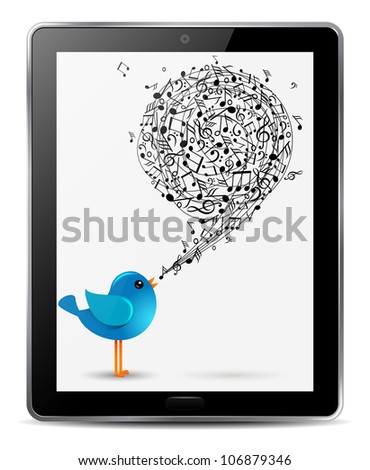 blue bird with music notes in screen of computer tablet - stock vector