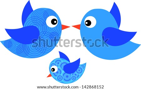 Blue birds isolated on the white background. Blue bird. Birds. Abstract bird. Bird with circle. Family of birds. Blue circle. Bird. Isolate of bird.