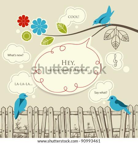 Blue birds talking communication concept - stock vector